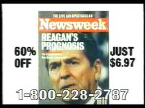 Newsweek magazine commercial with free shower radio