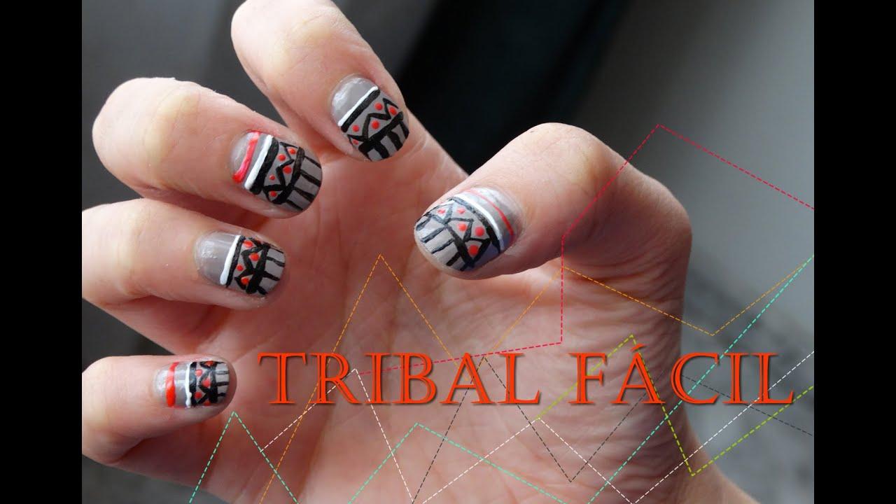 Tribal nude | Diseño de uñas fácil - YouTube