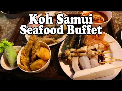 Koh Samui Seafood Buffet. BBQ Seafood in Thailand. All You Can Eat Thai Food