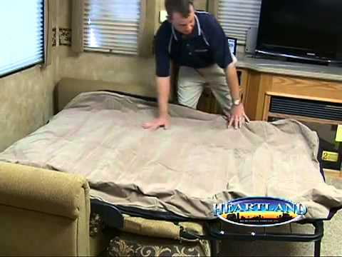 rv air bed sleeper sofa ikea manstad cover 2013 heartland hide-a-bed air-mattress product video by ...