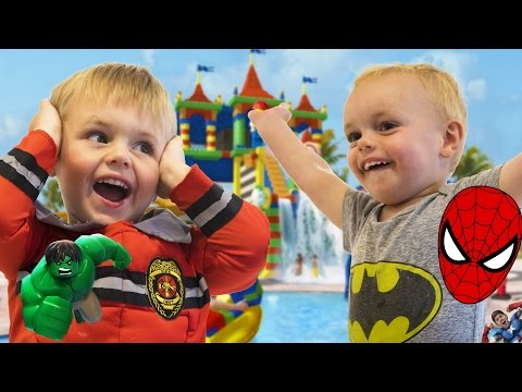 SUPERHERO BROTHERS INDOOR WATER PARK PLAY TIME!