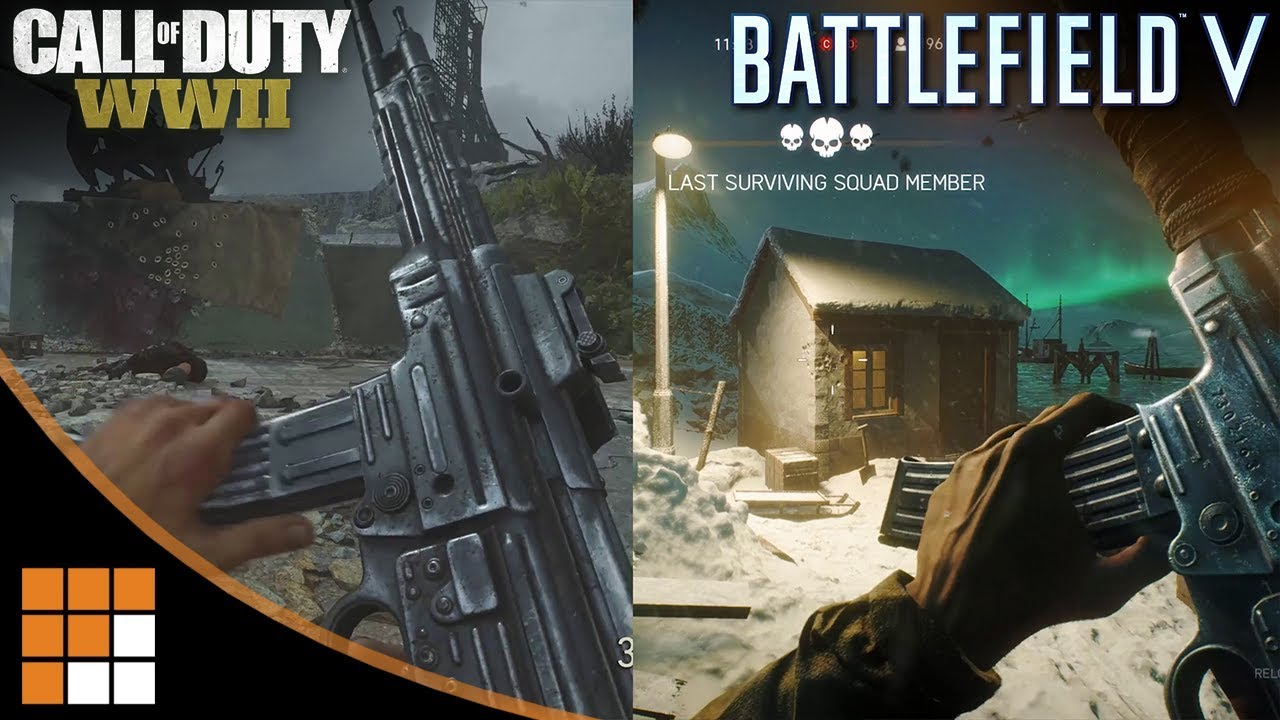 QUICK COMPARISON: Battlefield V Alpha vs. Call of Duty WWII Gun Sounds and Reload Animations
