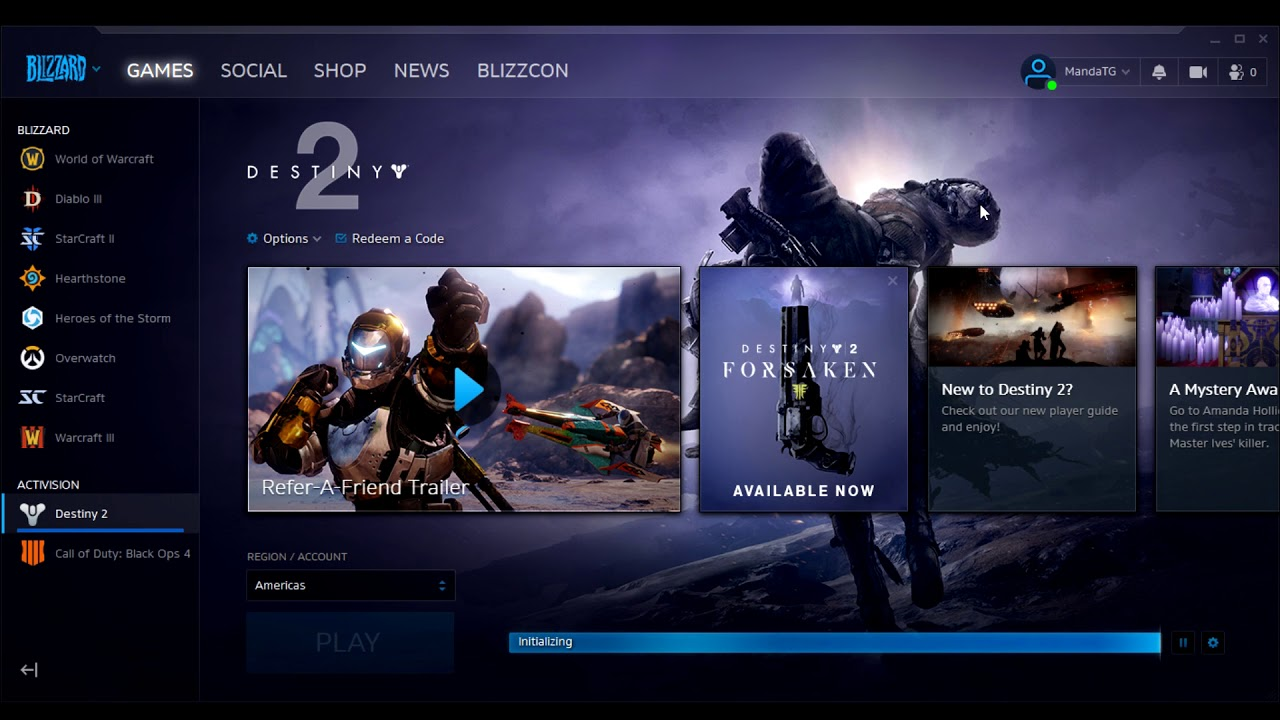 Battle net Initializing Stuck on Destiny 2 Download