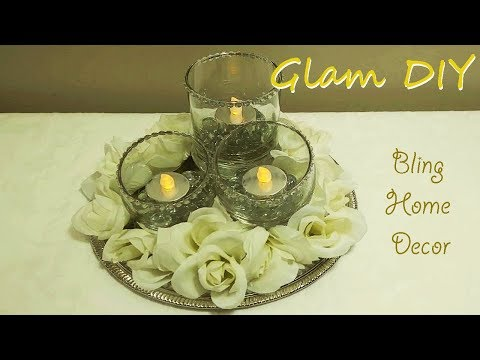 Dollar Tree DIY Glam Fall Candle Holder Centerpiece