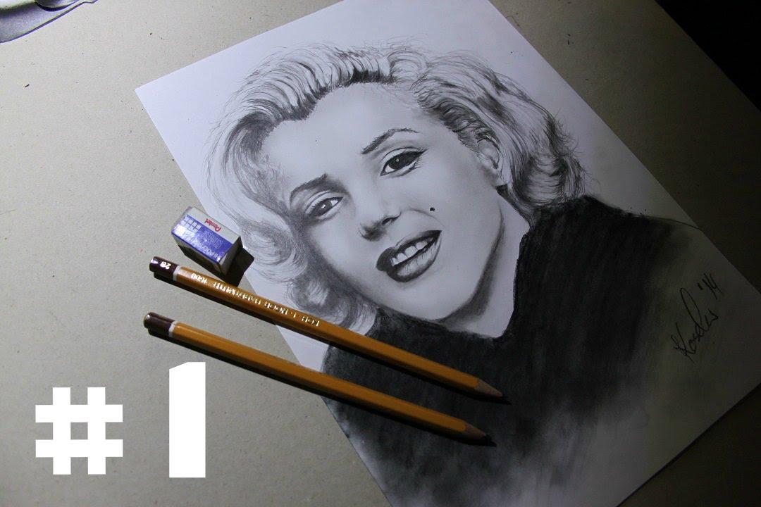 5a8ab734cf6107 Jak narysować - namalować portret Marilyn Monroe #1 / How to draw portrait