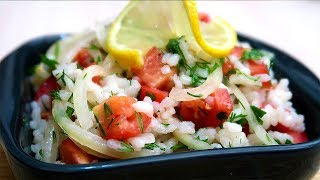 Салат с рисом и помидорами  Без майонеза