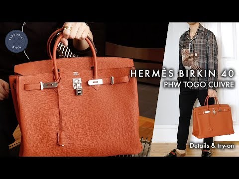 b3921c391098 Hermès Birkin 40 Togo Cuivre Men s Detailed Review   Try-on (2017 ...