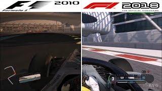 F1 Game Comparison (2010 - 2018 | Yas Marina Circuit | Abu Dhabi GP Hotlaps)