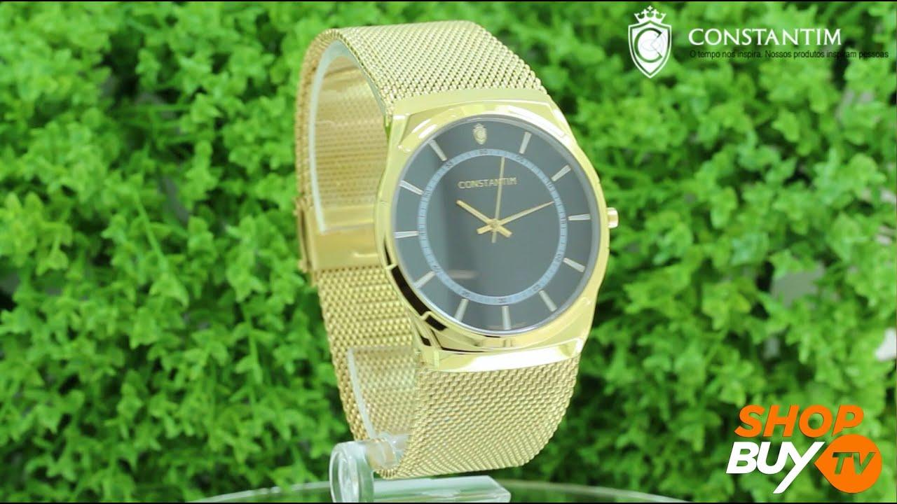 cabc67026d3 Relógio Constantim Slim Gold 6366G-GB - ShopBuy - YouTube