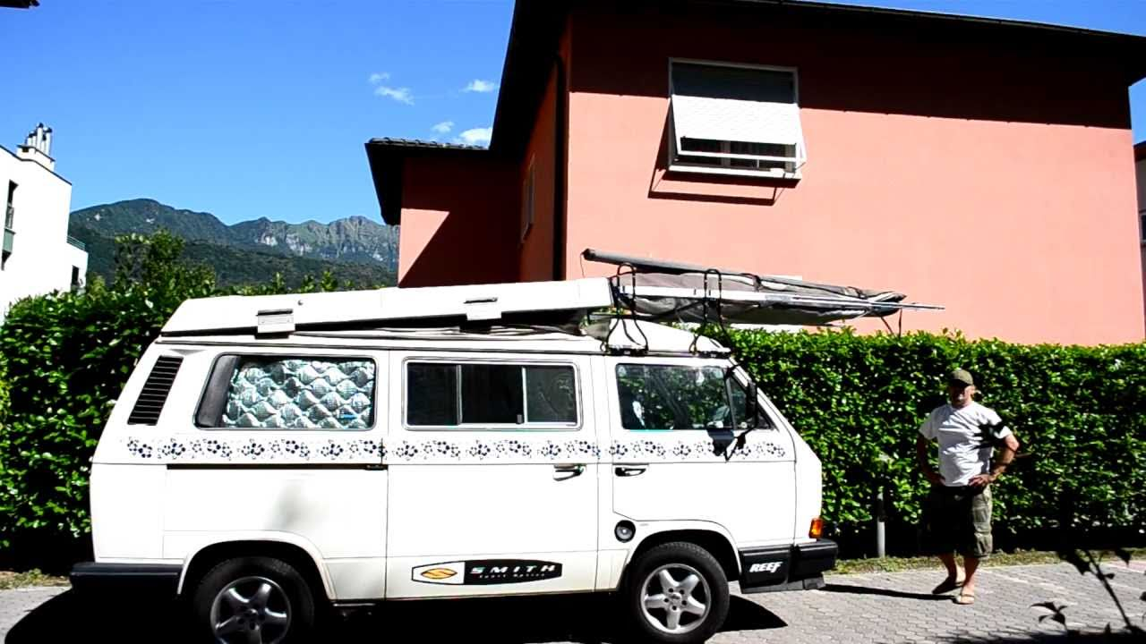 vw bus t3 westfalia california dachtr ger roof rack umbau youtube. Black Bedroom Furniture Sets. Home Design Ideas