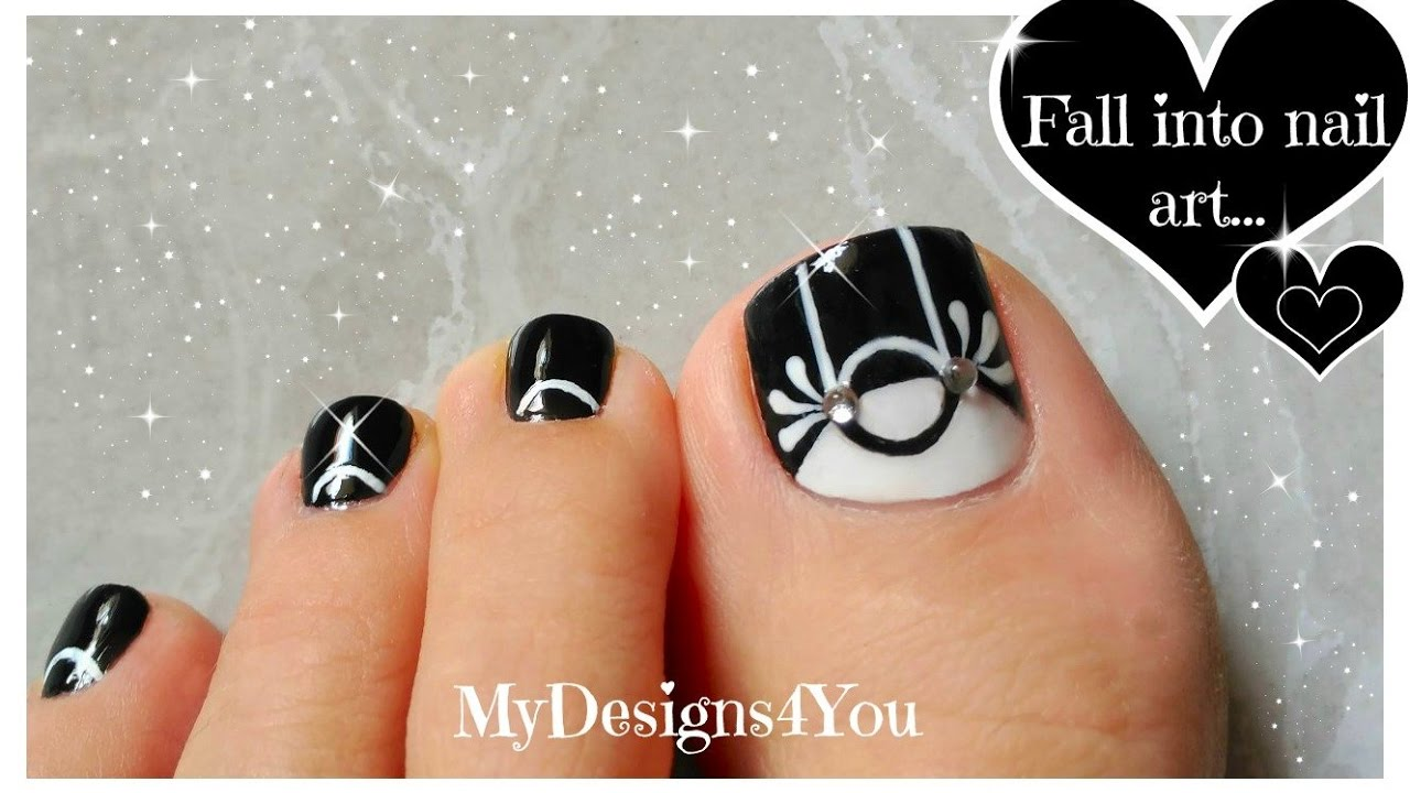Black White Toenail Art Design Monochrome Pedicure Youtube