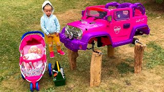 Little Girl Elis Ride On Happy Jeep Power Wheel 12 Volt - Service Brother Thomas Repair