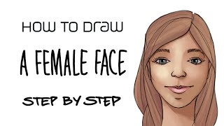 How to draw a feṁale face step by step with your Wacom tablet