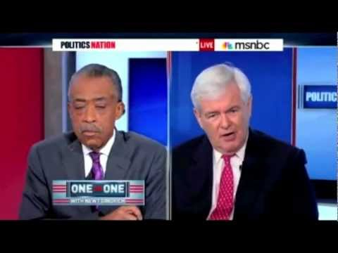 Al Sharpton and Newt Gingrich Battle Over Food Stamps and Obama