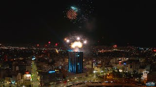 Piraeus Tower | Aerial New Year's Eve 2021 | 4K