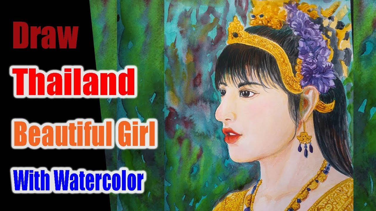 Drawing Beautiful Thailand Girl With Watercolor | Vẽ Cô Gái Xinh Đẹp Thái Lan | CN-ILLUSTRATOR