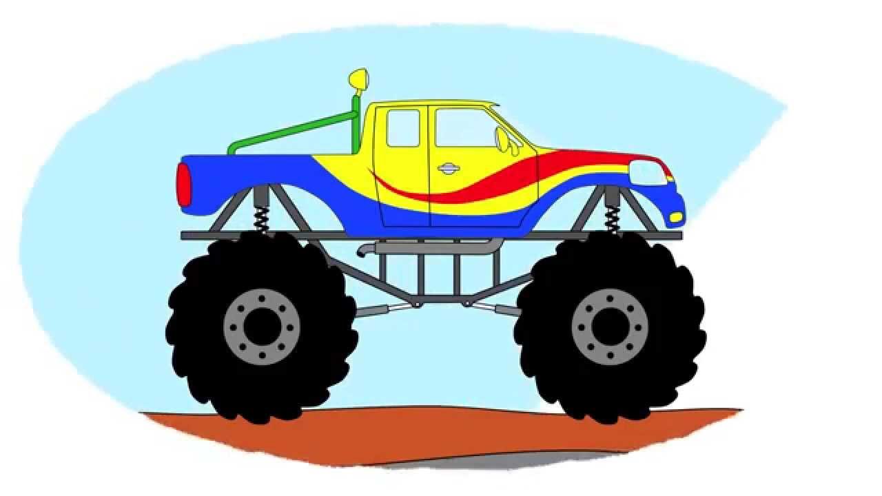 Zeichentrick Malbuch Monster Truck Auf Der Hindernisbahn