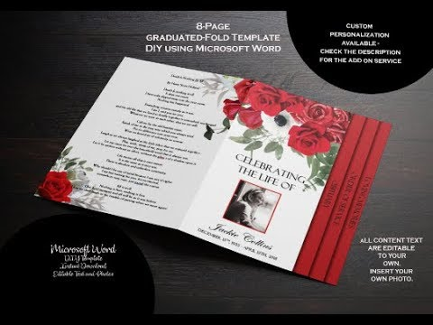 8 Page Graduated Fold Red Roses Funeral Program Word 2016
