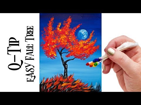 Easy painting Fall Tree Holding a moon Q-tip  🎨 🍂