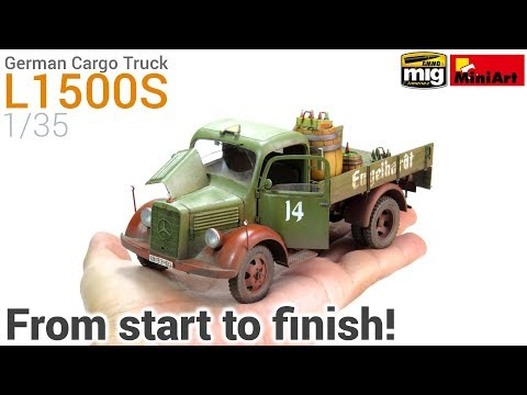 How to Build, Paint and Weather a realistic Scale Model! MiniArt's 1/35 German Cargo Truck L1500S