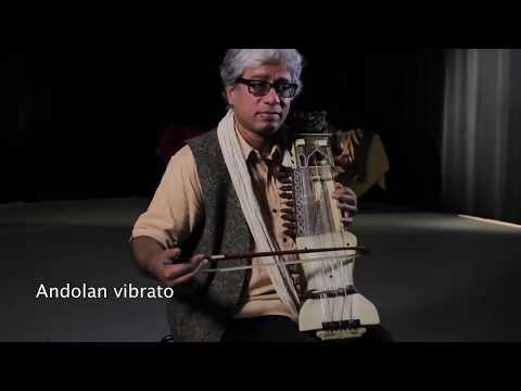 Dhruba Ghosh demonstrates the sarangi