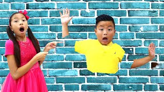 Wendy and Alex Pretend Play Jump through Wall Funny Magic for Kids