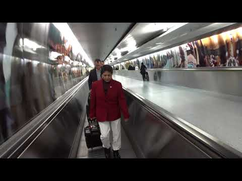 Aruna & Hari Sharma at Frankfurt Terminal 1 Building Underground passage to A Gates, Sep 11, 2017