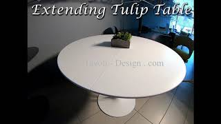 Video: 137 cm round extending Tulip table  - Liquid laminate