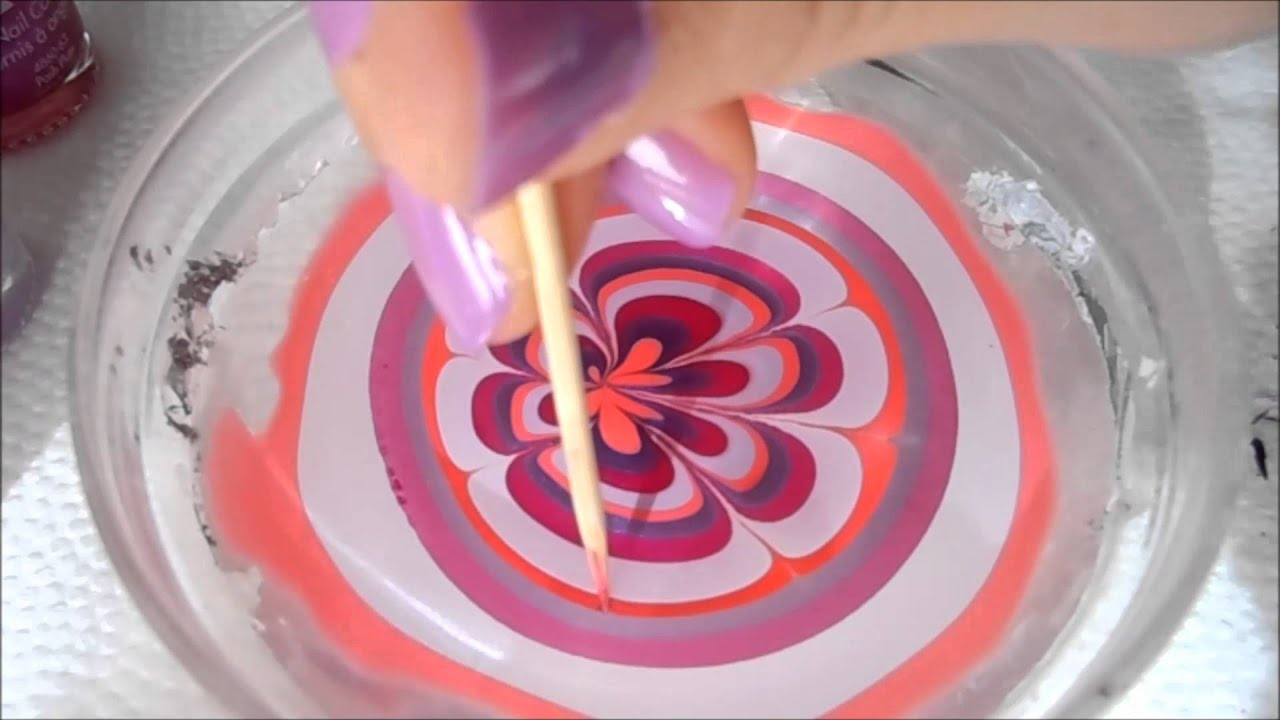 3 Very easy water marble nail art step by step tutorial - YouTube