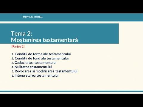 Drept succesoral MD / Tema 2: Mostenirea testamentara (Partea 1)