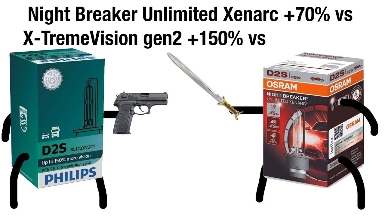 osram night breaker unlimited xenarc vs philips xtreme vision gen2 d1s d2s xenon bulbs test. Black Bedroom Furniture Sets. Home Design Ideas
