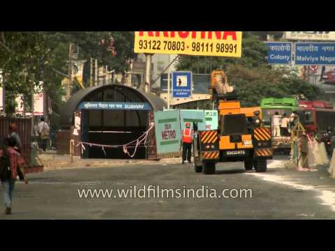 Metro construction in process at South Extention Part-1, Delhi