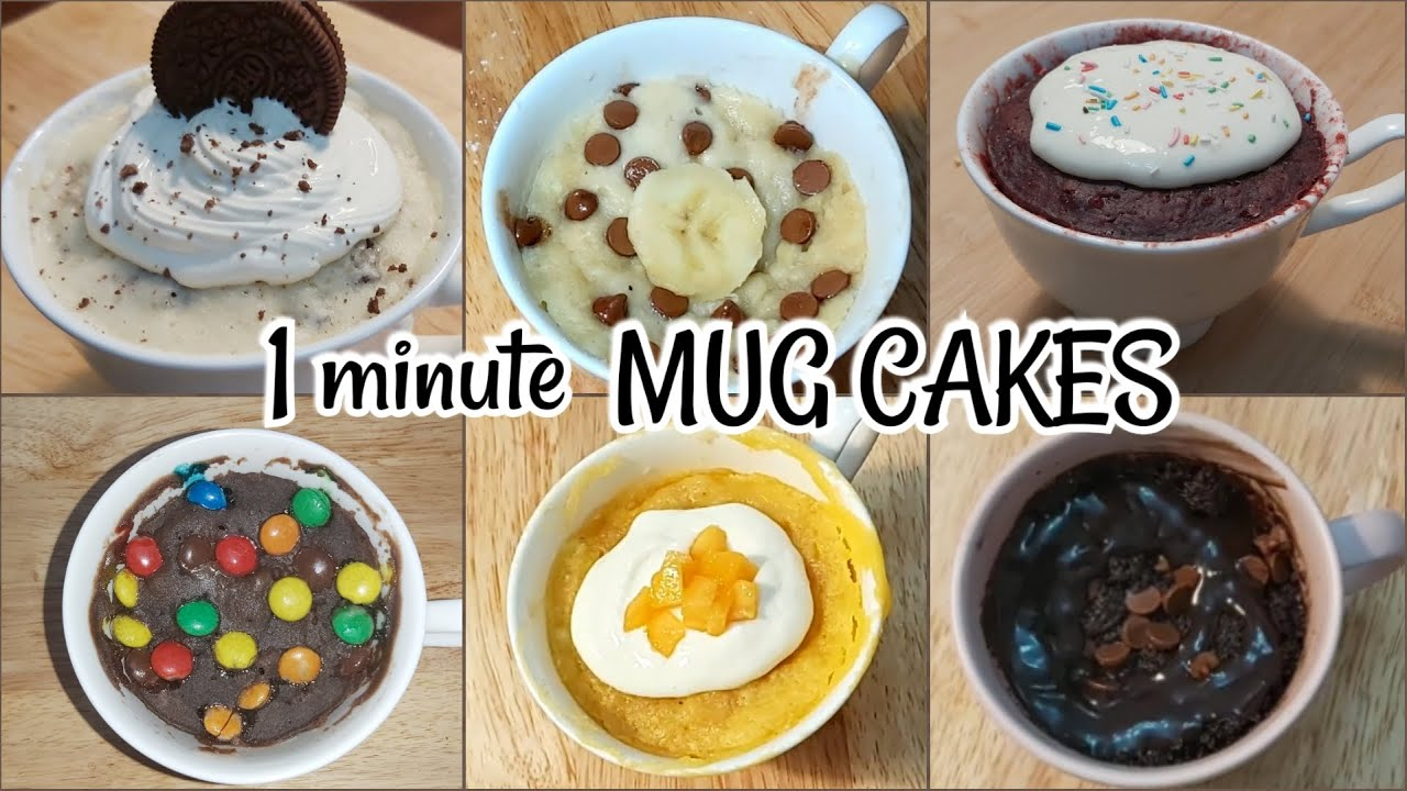 EGGLESS MUG CAKES in 1 minute - Chocolate, Red velvet ...