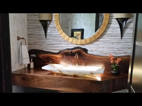 Building a Walnut Vanity with Live Edge Backsplash and Inlays