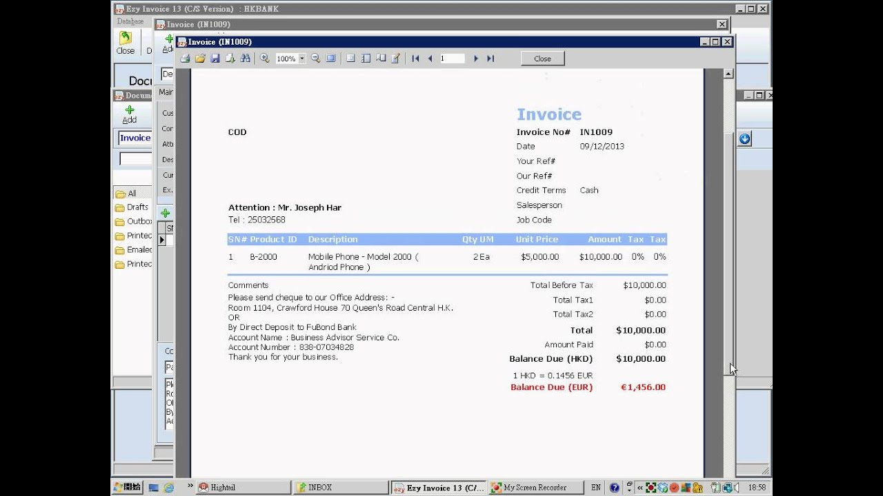 EZY Issue Invoice YouTube - Issue invoice
