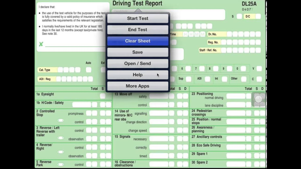 Driving test Report - Exam Sheet - Urdu