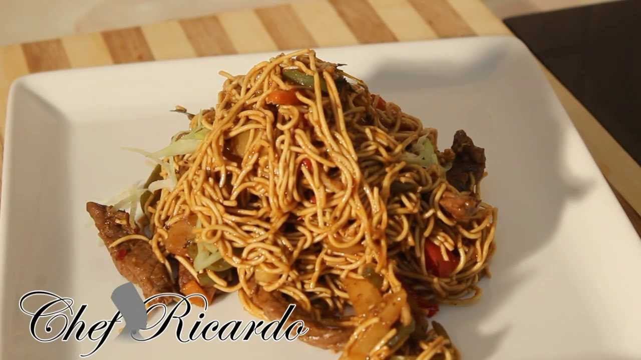 jamaica chinese twist stir fry beef served with noodles