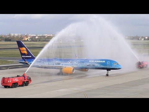 INAUGURAL FLIGHT Icelandair Boeing 757-256 TF-FIR (80 years of Aviation Livery) WATER SALUTE Berlin