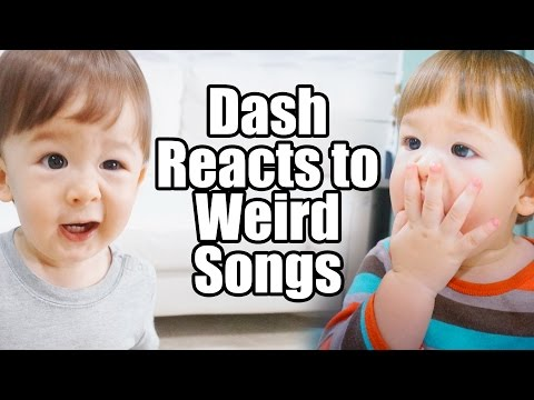 Hilarious! Baby Dash Reacts To Weird Children's Songs! (1yr 6m)