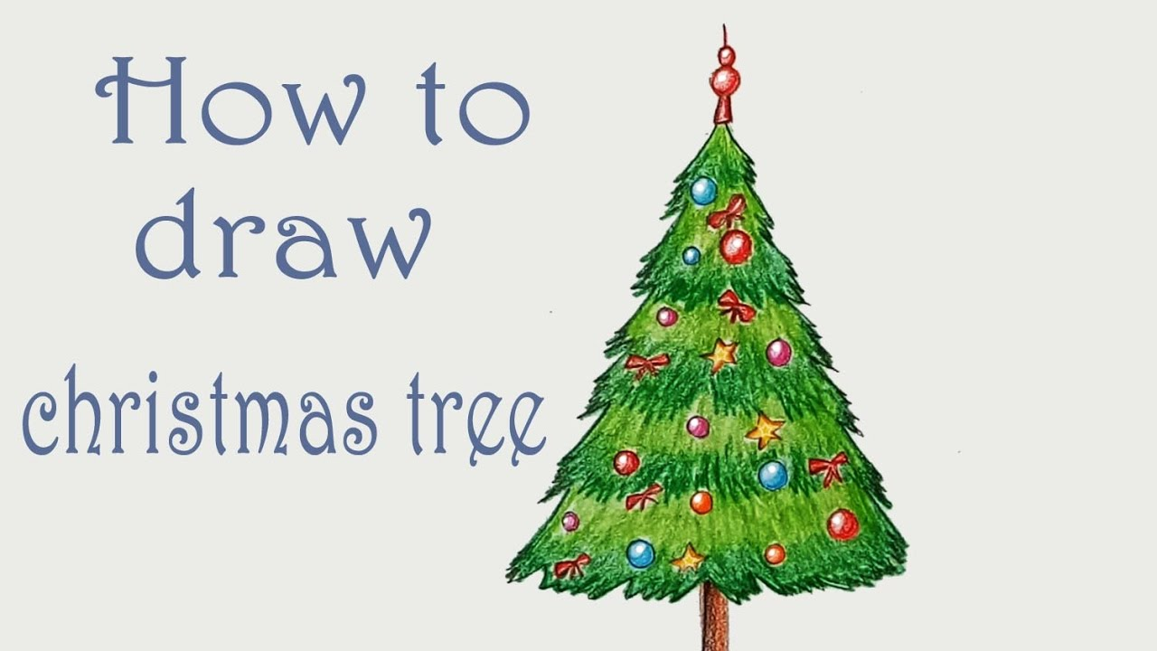 How To Draw Christmas Tree Step By Step Very Easy Youtube