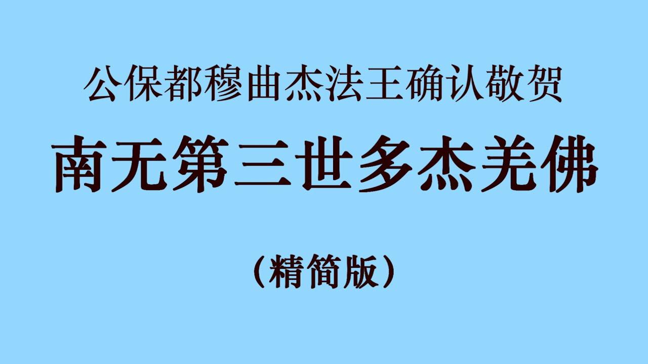 十七世噶瑪巴的上師ー公保都穆曲杰法王确认敬贺 南无第三世多杰羌佛 (国际佛教僧尼总会严正声明20210208) 精简版 1080p