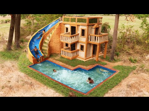 Build Water Slide From Top Three Story Villa House To Underground Swimming Pool