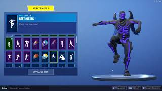 Fortnite Purple Skull Trooper showcased with 30+emotes