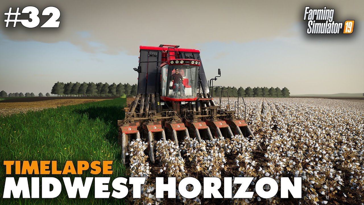 Midwest Horizon Timelapse #32 Harvesting Cotton & Soybeans, Farming  Simulator 19