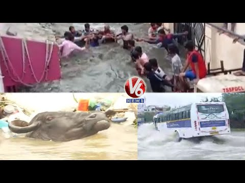 Rain Effect : Streets Flooded In Hyderabad | V6 News
