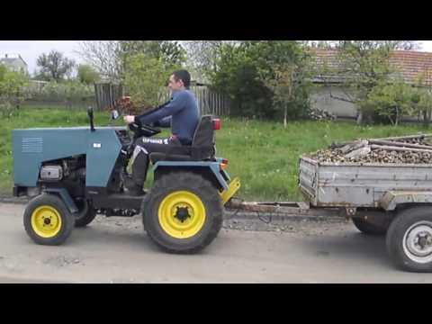 Самодельный мини-трактор, перевозка щебня.