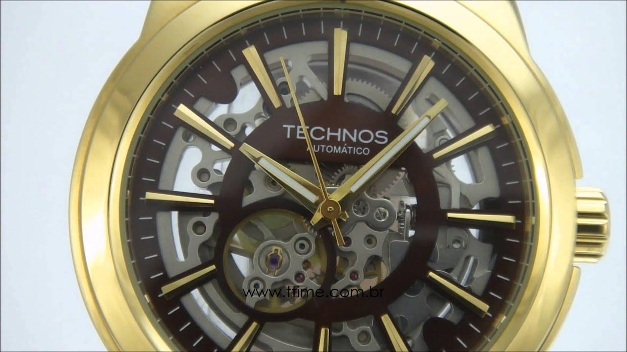 c790a242da7 Relógio Technos Automático Esqueleto MW6166B 2M - YouTube