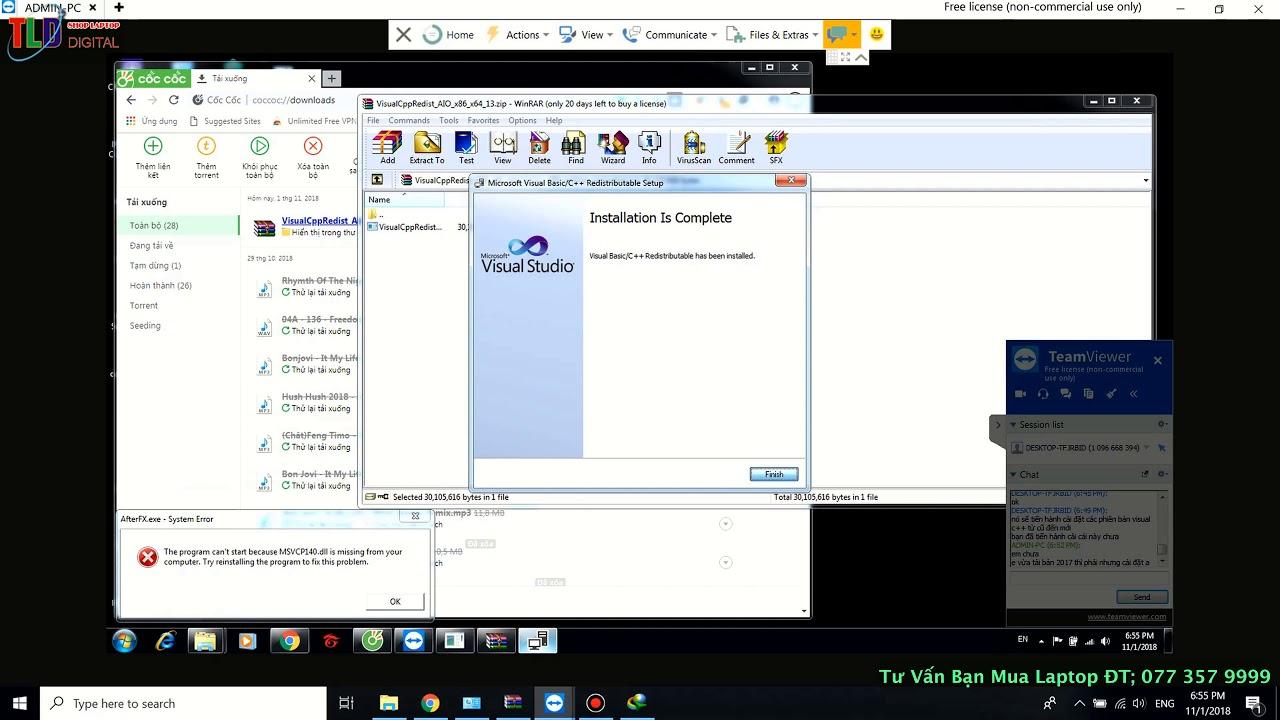 Teamview Fix Lối Thiếu File DLL Thư Viện Liên Kết Động Khi Cài Game, Phần Mềm