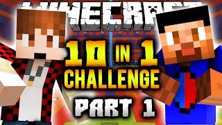 10 IN 1 CHALLENGE Part 1 with Vikk & Mitch (Minecraft Custom Map)