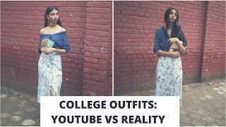COLLEGE OUTFITS: YOUTUBE VS REALITY | Real College Lookbook | Dolly Singh